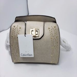 Clementine Gold Stars Studded Ivory Leather Cross